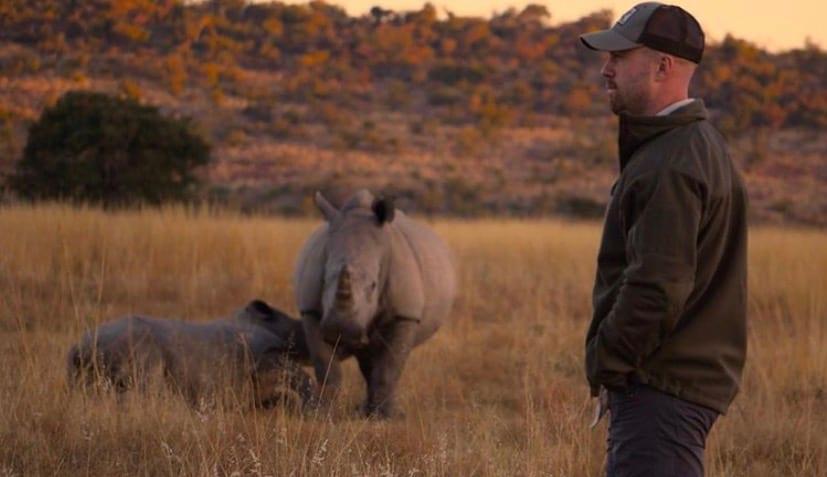 John Garcia with Rhinos