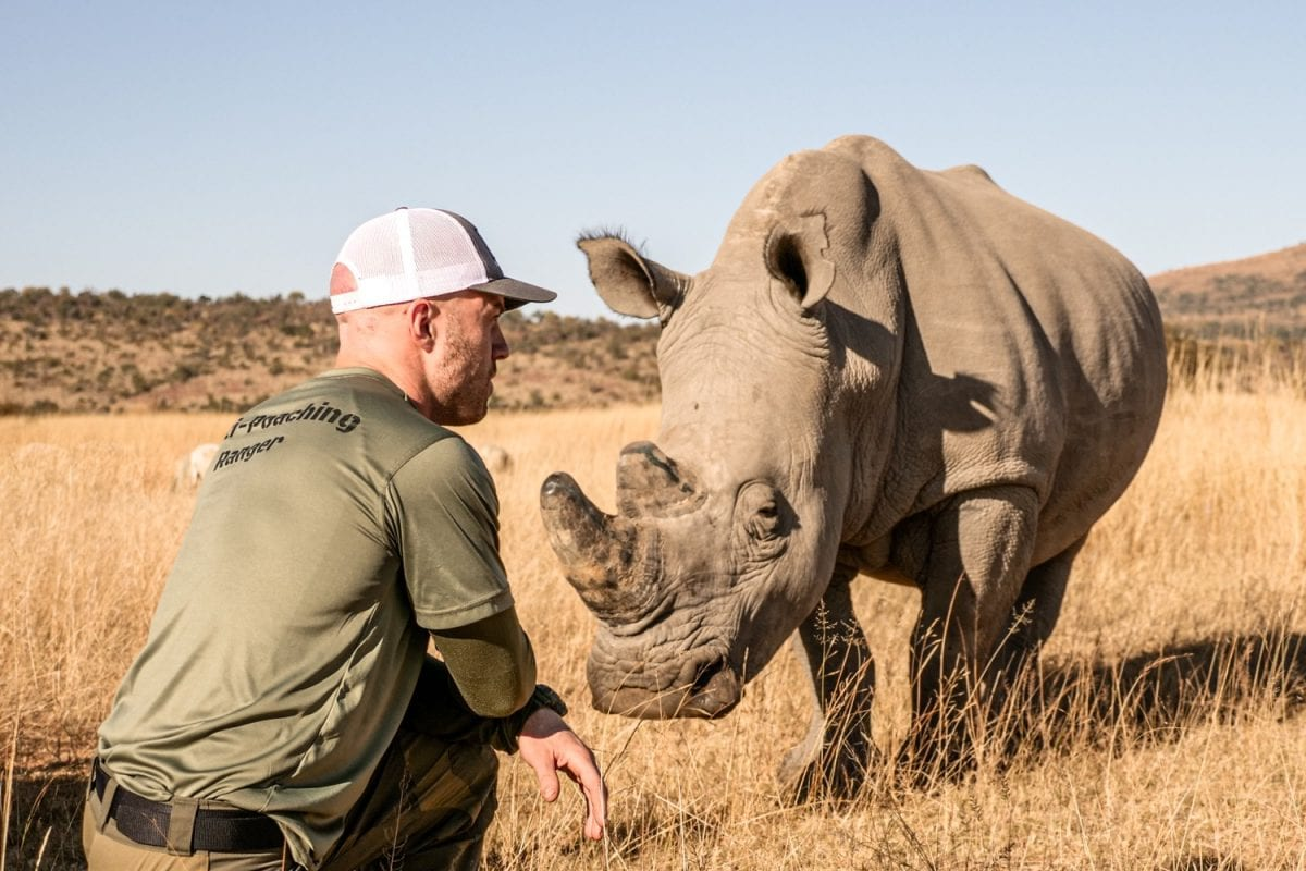 John Garcia facing rhino